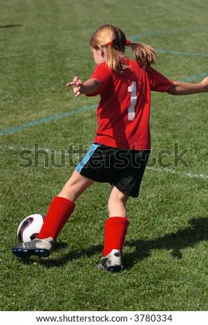 Girl on Soccer Field 45 - stock photo