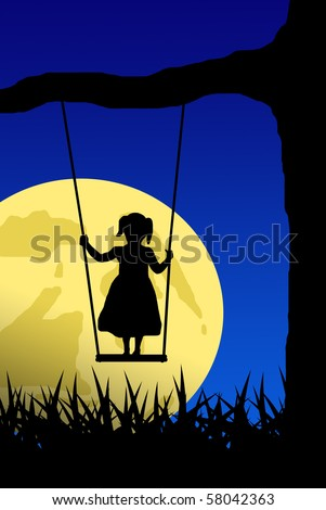 girl on swing with moon in background