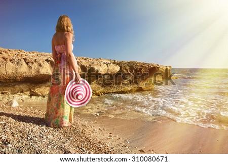 Girl on the beach. Cyprus - stock photo