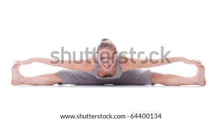 Girl on the fitness. Isolated. Smile. - stock photo