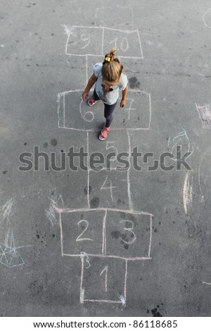 girl on the hopscotch - stock photo