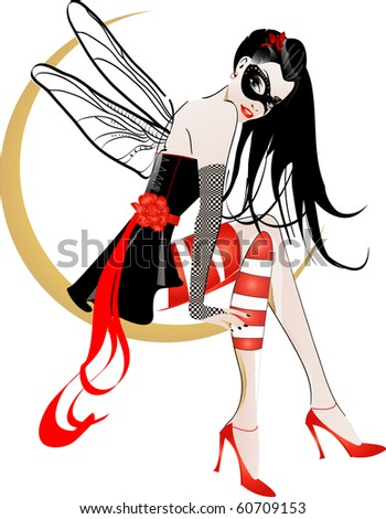 girl on the moon Illustration of a beautiful girl on the moon  isolated on a white background - stock photo