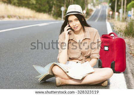 girl on the road map