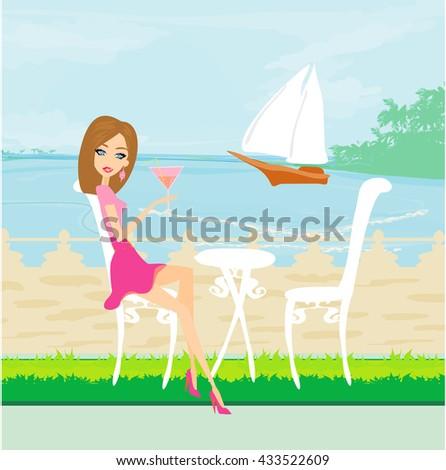 girl on vacation  - stock photo