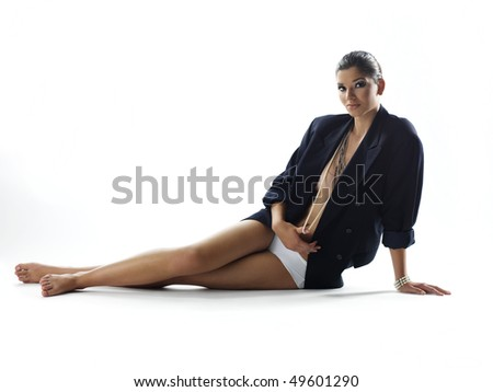 girl on white - stock photo