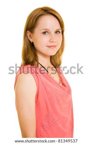 Girl on white background. - stock photo