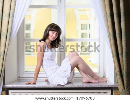 girl on window