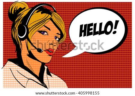 Girl operator call center. Comics style. - stock photo