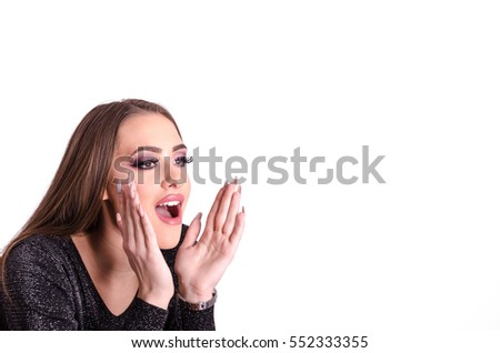 Girl or woman holding hands near his mouth and yells