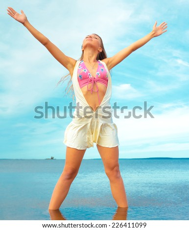 Girl Outdoor Fashion  - stock photo