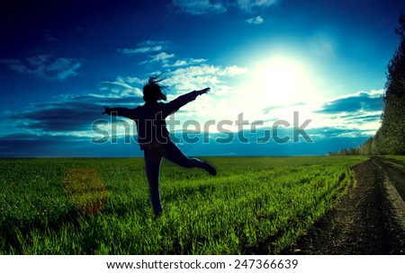 girl outdoor jump on sunset background - stock photo
