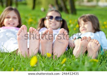 Girl outdoors in spring park - stock photo