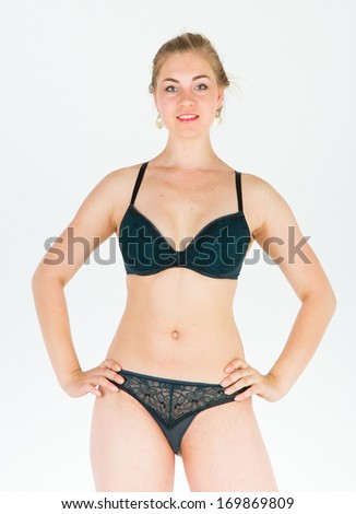 Girl Over White Perfection and Elegance  - stock photo