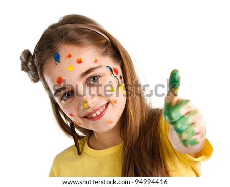 girl painted paints shows thumb