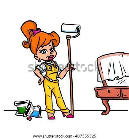 Girl painter home repairs cartoon illustration
