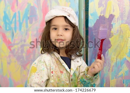 Girl painting - stock photo