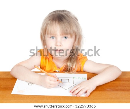 Girl paints house. On a white background - stock photo
