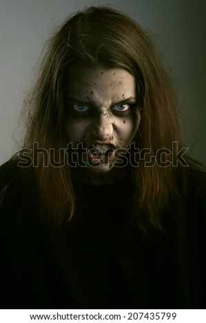 Girl patient psychological hospital. Possessed by a satan - stock photo