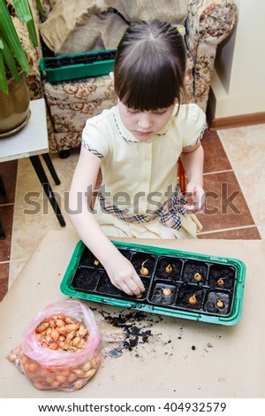 Girl planting onion seeds from a packet in a green tray on the balcony - stock photo