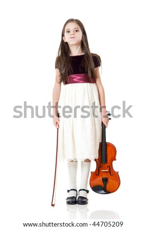 girl play violin - stock photo
