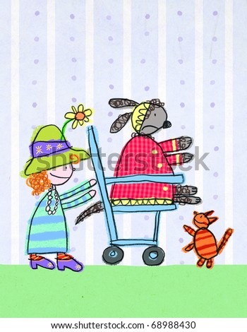 Girl playing dress up with cat and dog, children's illustration - stock photo