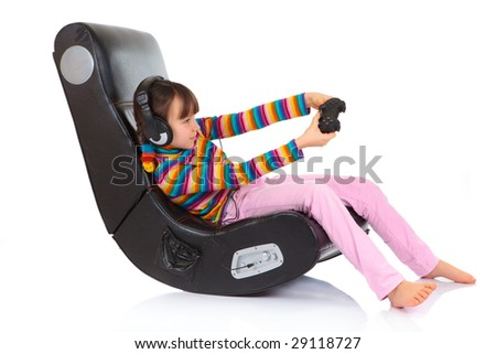 Girl playing game in chair
