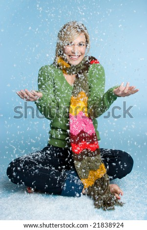 Girl Playing in Snow - stock photo