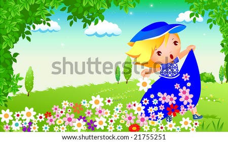 girl playing in the garden