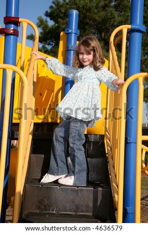 Girl playing on playground