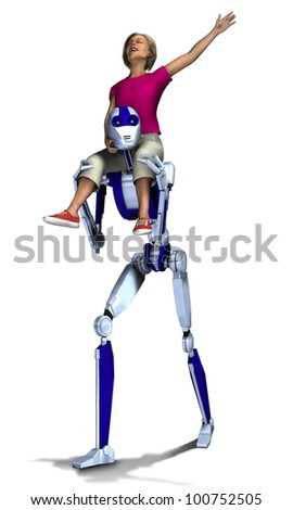 Girl playing on robot - stock photo