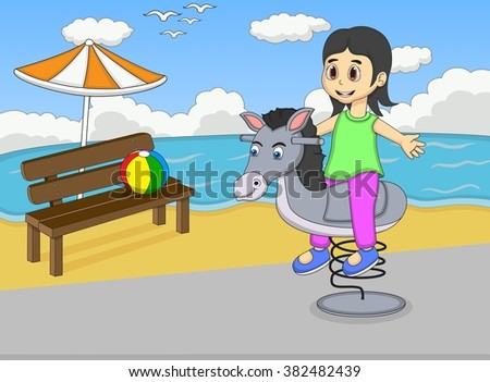 Girl playing rocking horse at the beach image illustration