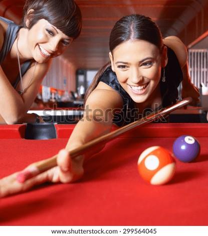 girl playing snooker - stock photo