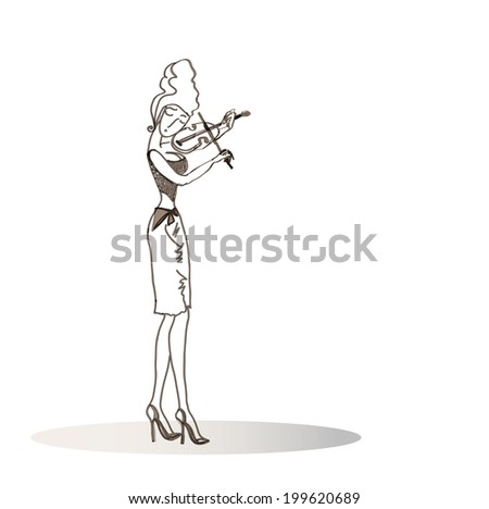 Girl playing the violin.The girl in all growth plays a violin. Decollete, tight  skirt and high heel.  illustration.