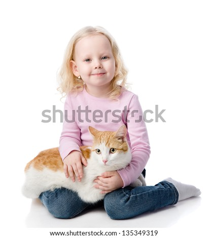 girl playing with cat. looking at camera. isolated on white background - stock photo