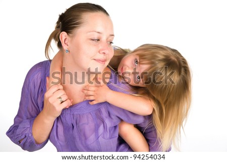 Girl playing with her mom
