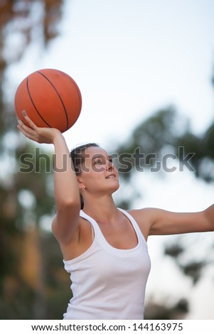 girl plays basketball, a healthy lifestyle - stock photo