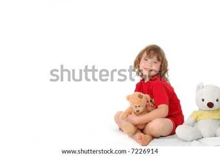 Girl plays with bears isolated on white background