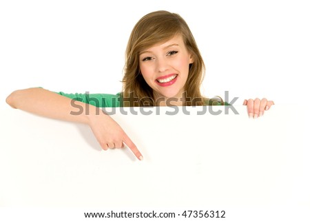 Girl pointing - stock photo