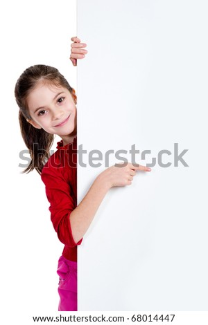 girl pointing finger on holding empty board - stock photo