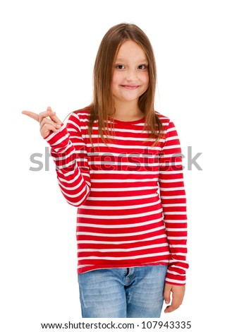 Girl pointing isolated on white background - stock photo