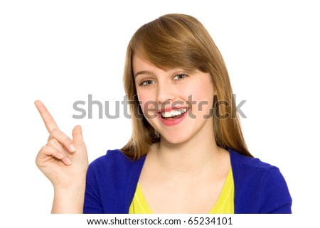 Girl pointing up - stock photo
