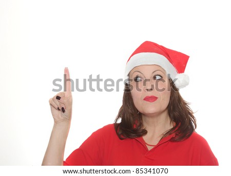 girl points a finger - stock photo