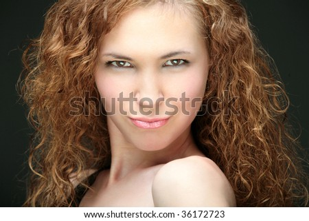 girl portrait isolated on the black background,close-up