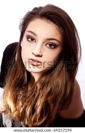 Girl portrait on white background - stock photo