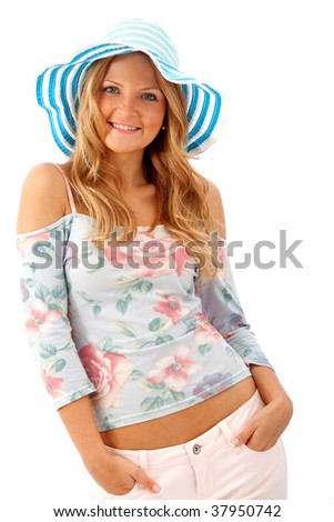 girl portrait with a summer hat isolated on white - stock photo