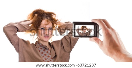 girl poses for the camera - stock photo