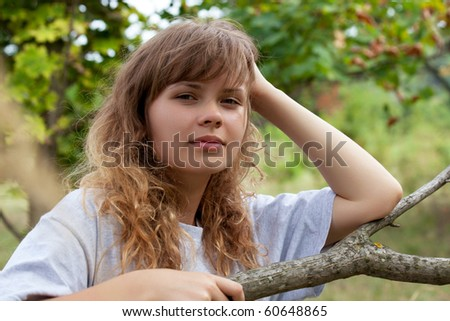 Girl posing in the middle of nature - stock photo