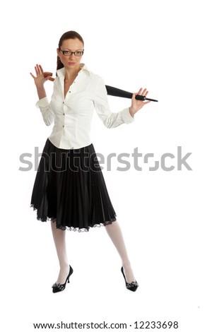 girl posing isolated on white - stock photo
