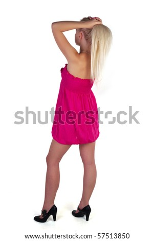 Girl posing on a white background - stock photo