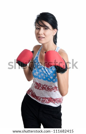 girl posing with sports gloves - stock photo
